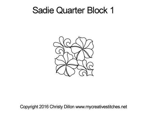 Sadie quarter block 1 quilting pattern
