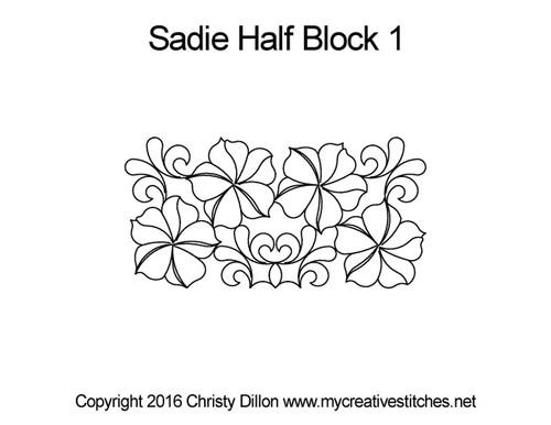 Sadie half block 1 quilting design