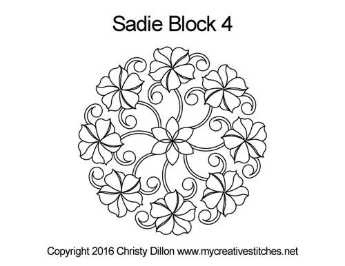 Sadie digitized quilting pattern for block 4