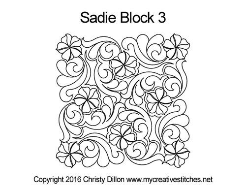 Sadie block 3 quilting designs