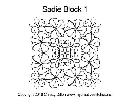 Sadie square block 1 quilting pattern