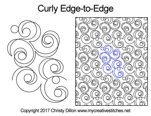 Curly edge to edge digital quilting patterns