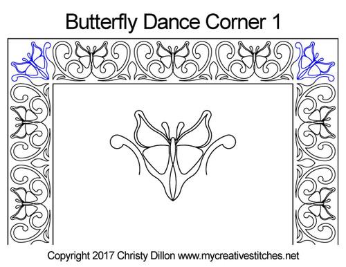 Butterfly dancer corner 1 quilt design