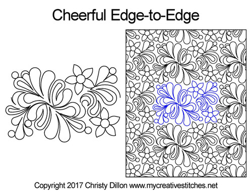 Cheerful edge to edge digital quilting patterns
