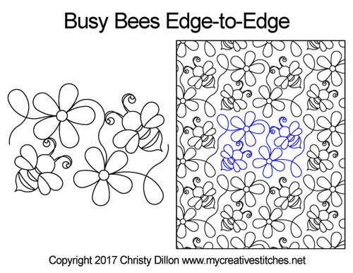 Busy bees edge to edge quilting designs