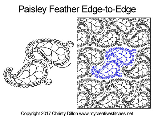 Paisley feather edge-to-edge quilting design