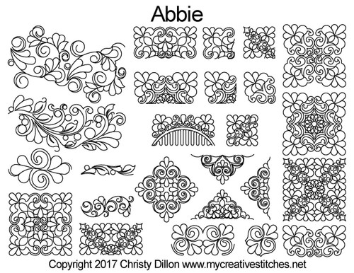 Abbie digitized quilting pattern set