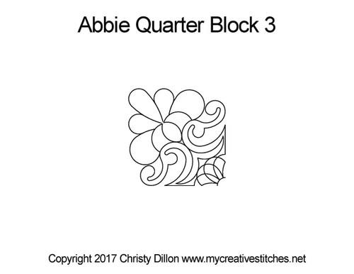 Abbie quarter quilting design for block 3