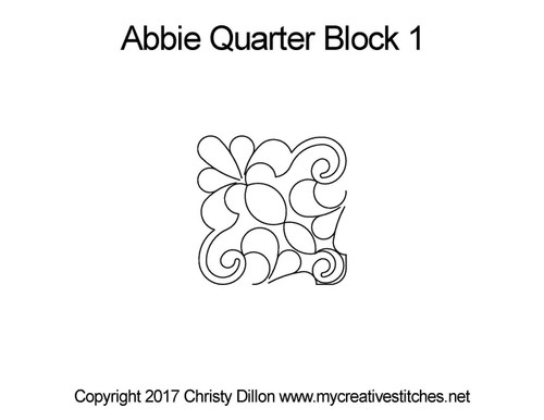 Abbie quarter quilting design for block 1
