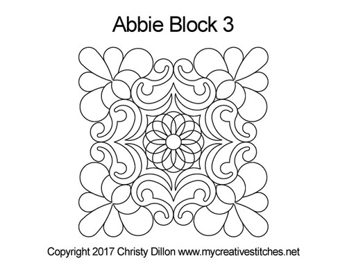 Abbie digitized quilting pattern for block 3