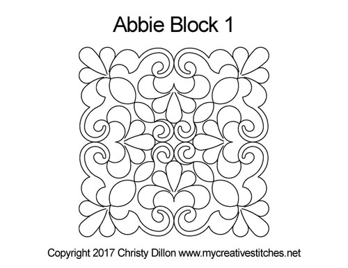 Abbie digitized quilting pattern for block 1