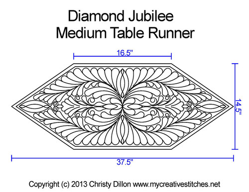 Diamond jubilee medium table runner quilting