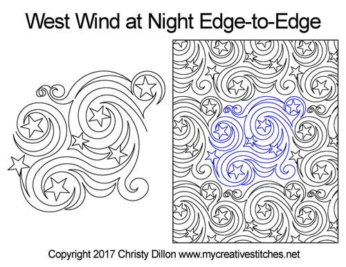 West wind at night edge to edge quilt pattern