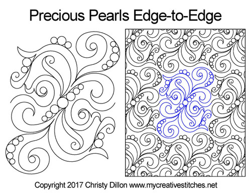 Precious pearls edge-to-edge quilting pattern