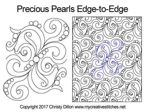 Precious pearls edge-to-edge quilting pattern