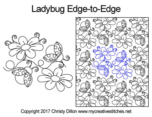 Ladybug edge-to-edge quilting pattern