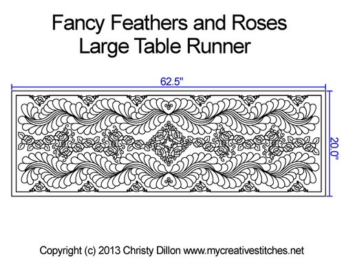 Fancy feathers & roses large table runner quilting