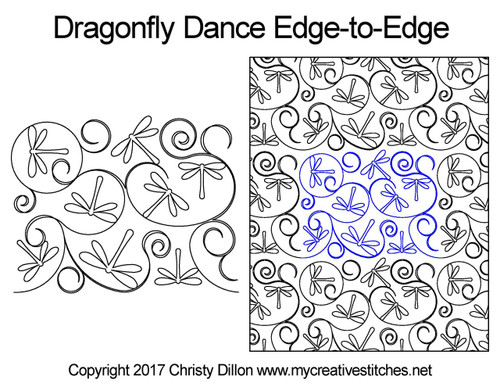 Dragonfly dance edge to edge longarm quilt patterns