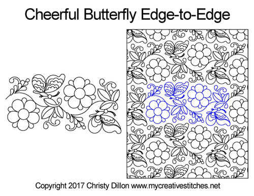 Cheerful butterfly edge to edge quilting patterns