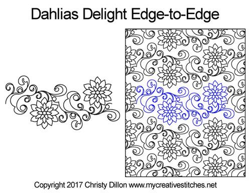 Dahlias delight edge-to-edge quilt design