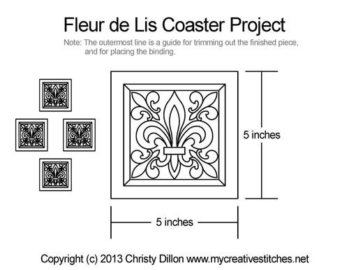 Fleur de lis coaster free quilting projects