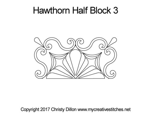 Hawthorn half block 3 quilting design