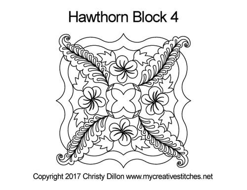 Hawthorn block 4 quilting pattern
