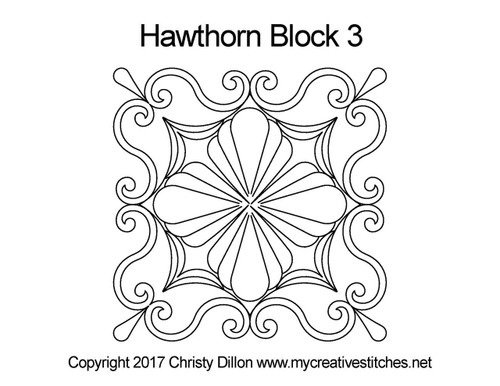 Hawthorn quilting pattern for block 3