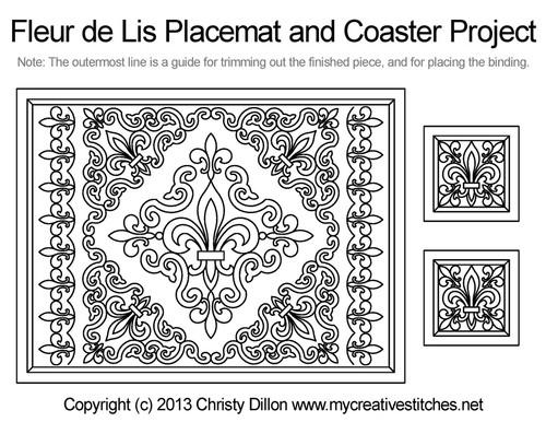 Fleur de lis placemat & coaster free quilting project