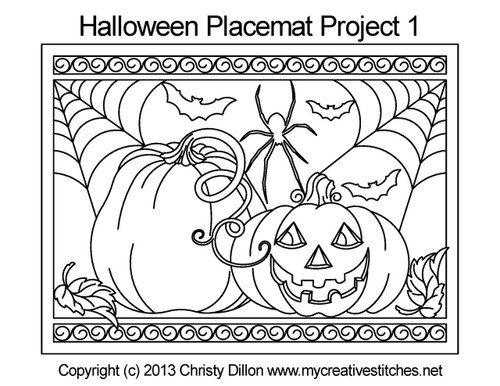 Halloween placemat free digital quilting project