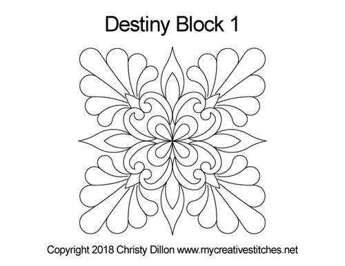 Destiny block 1 quilting pattern