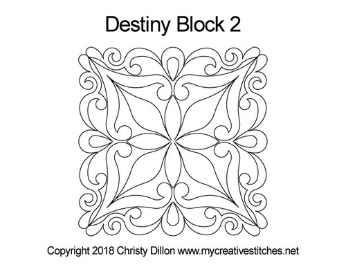 Destiny quilting patterns for block 2