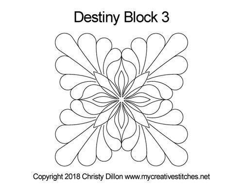 Destiny quilting designs for block 3