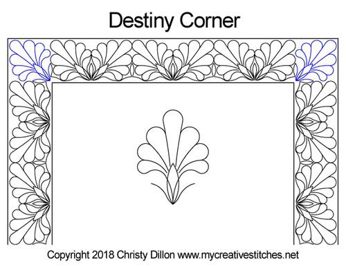 Destiny digitized corner quilt pattern