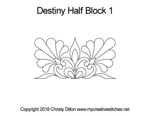 Destiny half block 1 quilting design