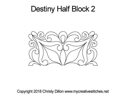 Destiny half block 2 quilting design