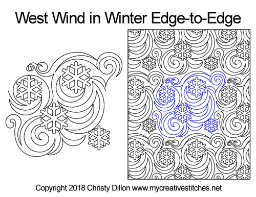 West wind in winter edge to edge quilting pattern