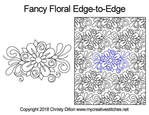 Fancy floral edge to edge quilt designs