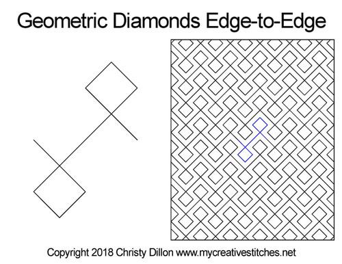 Geomertic diamonds edge-to-edge quilting