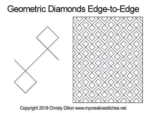 Geomertic diamonds edge-to-edge quilting