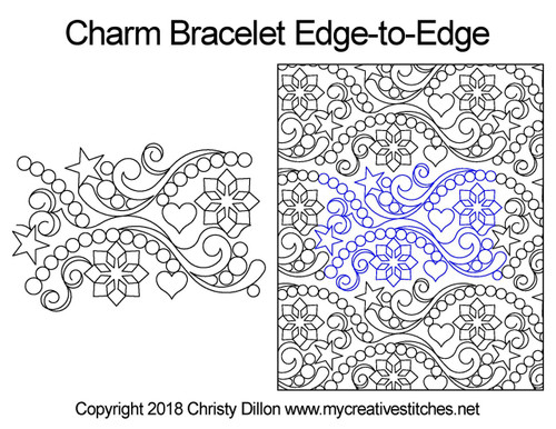 Charm bracelet edge to edge quilt patterns