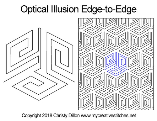 Optical illusion edge-to-edge quilting design