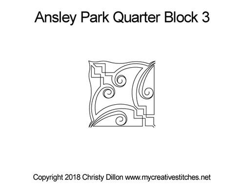 Ansley park quarter block 3 quilt pattern