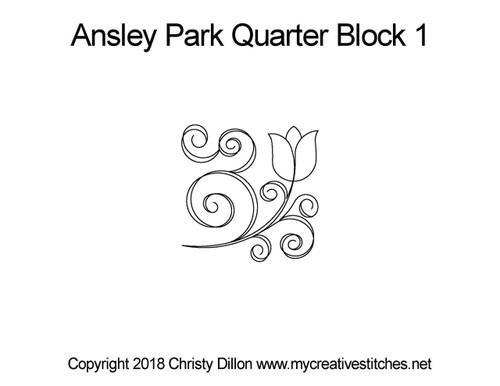 Ansley park Quarter block 1 quilt pattern