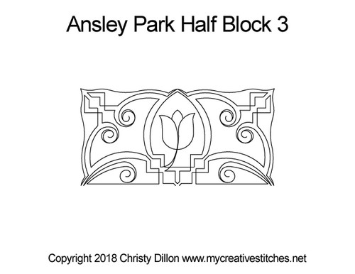 Ansley park half block 3 quilt pattern