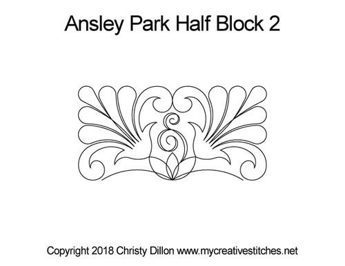 Ansley park half block 2 quilting design
