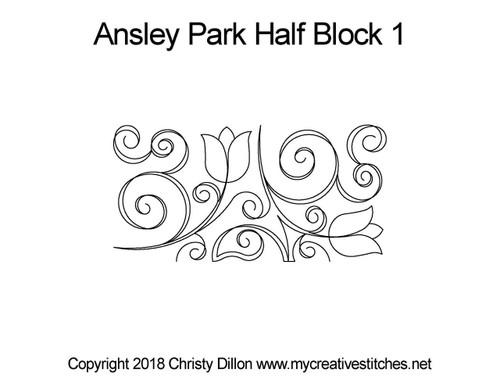 Ansley park half block quilt pattern