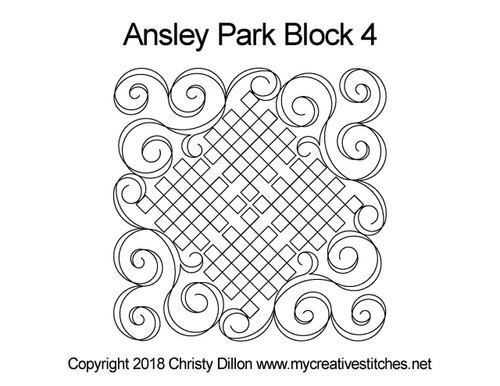 Ansley park quilting pattern for block 4