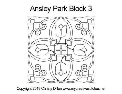 Ansley park square block quilt pattern