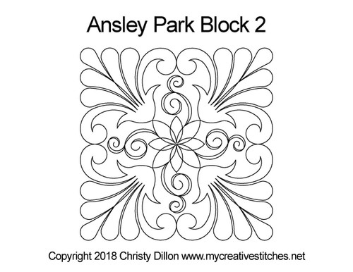 Ansley park block 2 quilting design